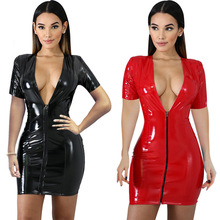 Women Sexy Bodycon Leather Dress Short Sleeve Zipper Latex Club Wear Clothing Mini PU  Fashion Skinny 2019