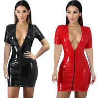 Women Sexy Bodycon Leather Dress Short Sleeve Zipper Latex Club Wear Clothing Mini PU Leather Dress Fashion Skinny 2019