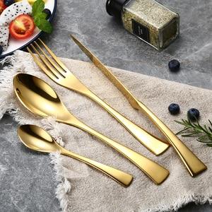 "Image 1 - 24 יח\סט נירוסטה זהב צלחת סכו""ם סט 304 כלי אוכל כלי שולחן סכו""ם סט ארוחת ערב סכין מזלג כף זרוק חינם"