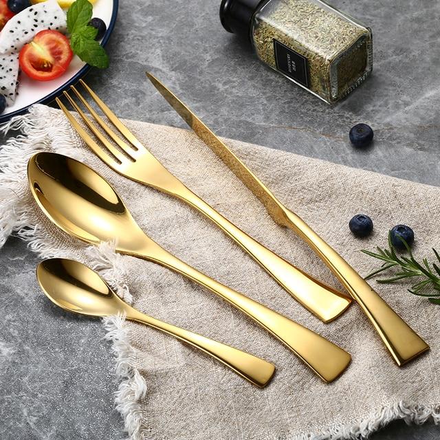 24 قطعة/المجموعة الفولاذ المقاوم للصدأ الذهب لوحة مجموعة أدوات المائدة 304 أواني الطعام أدوات المائدة الفضيات مجموعة سكينة عشاء شوكة ملعقة قطرة الشحن