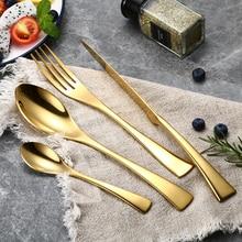 24Pcs/set Stainless Steel Gold Plate Cutlery Set 304 Dinnerware Tableware Silverware Set Dinner Knife Fork Spoon Drop Shipping