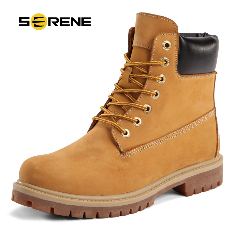 SERENE Winter Snow Brown Yellow Men Boots Size 38-44 Fashion Leather Ankle Male Work Tooling Shoes Non-slip Rubber Sole Footwear business men tie shallow mouth brown leather casual rivet shoes men s shoes round youth non slip rubber sole