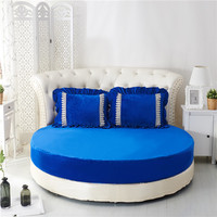 3 Pieces Solid Color Printed Crystal velvet Round Flat Sheet Set Round Bed Sheet Bedding Set Customizable Mattress Topper 200cm