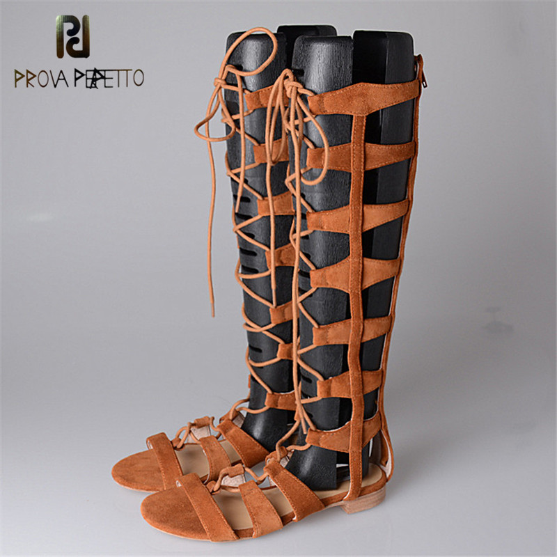 Prova Perfetto 2018 New arrival Summer High Top Sandals Low Heel Long boot Shoes Retro Knee High Sandals Lace-up Rome Style