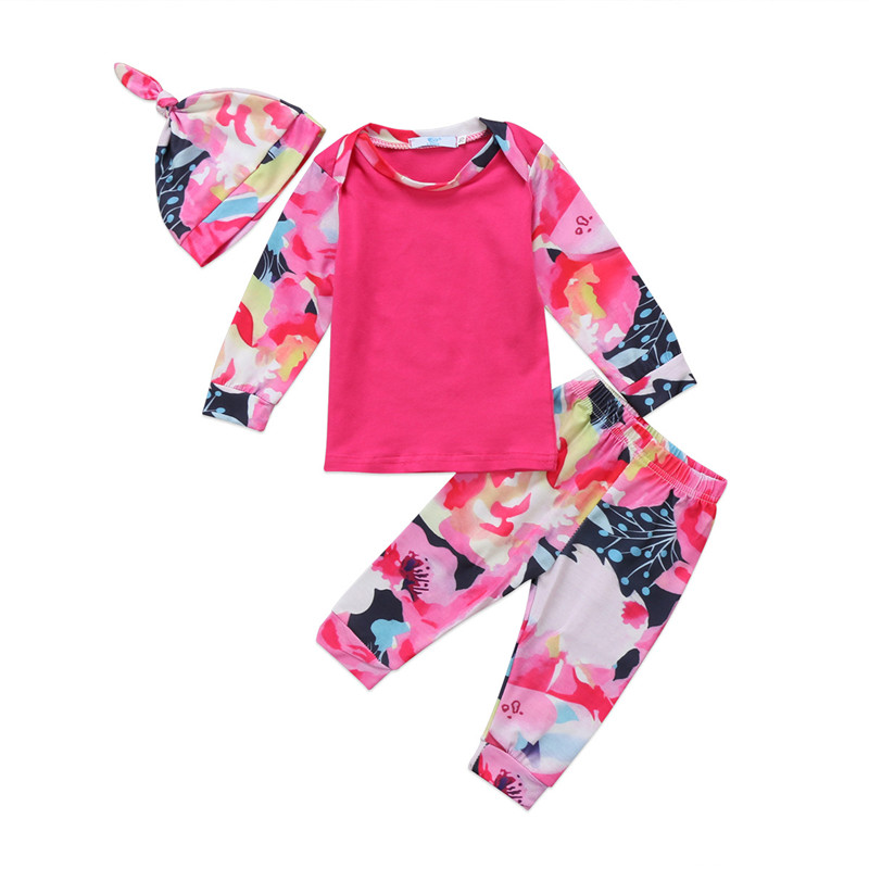 3PCS Newborn Infant Baby Girls Clothes Set Print Cute T- Shirts Tops Long Sleeve Pants Hat Outfits Girl Clothes Set