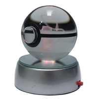 50 MM 3D Pokemon Go boule de cristal bouton pile alimenté LED veilleuse boule magique pour enfants cadeaux de noël