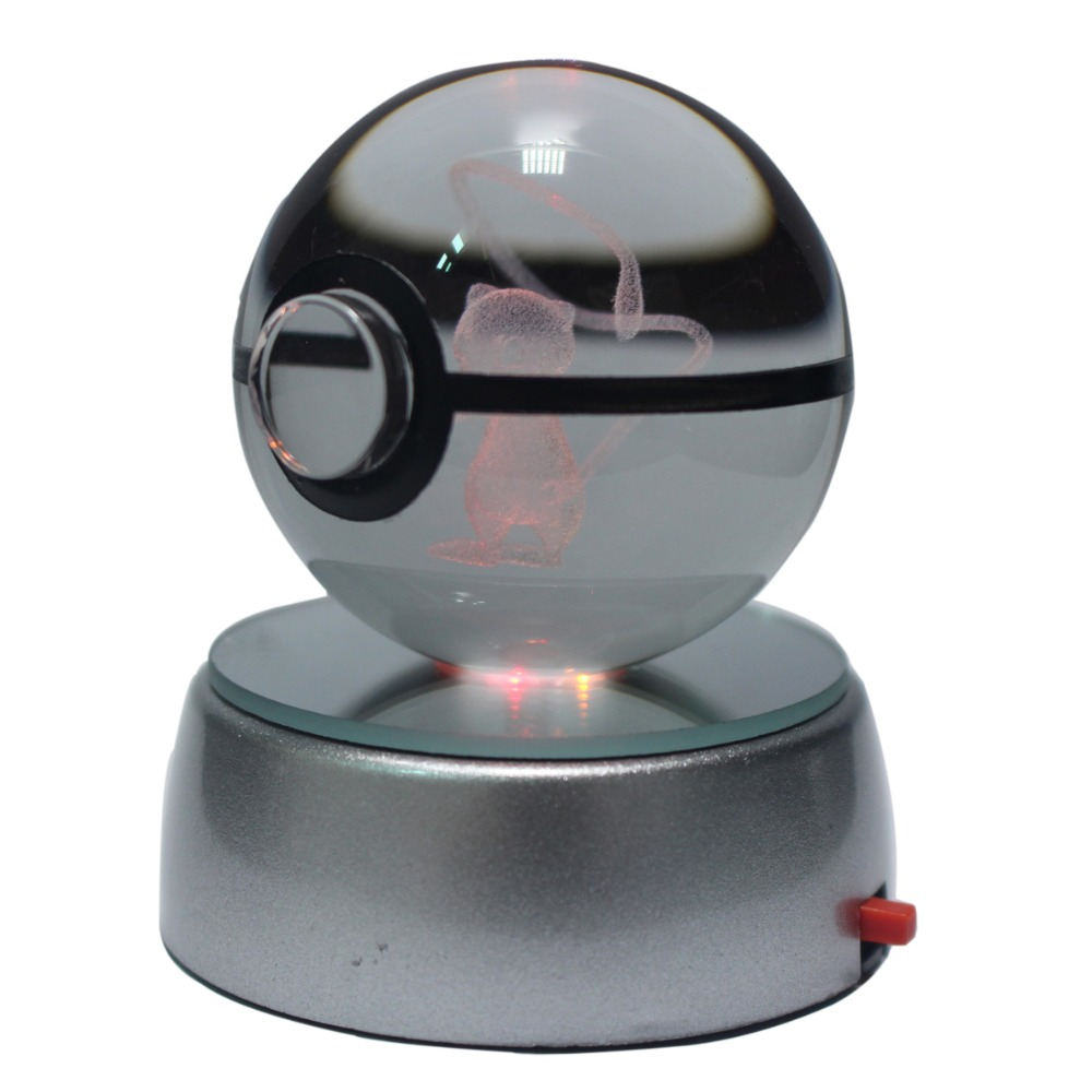 50MM 3D Pokemon Go Crystal Ball Button Cell Powered LED Night Light Magic Ball for Children Christmas Gifts ...