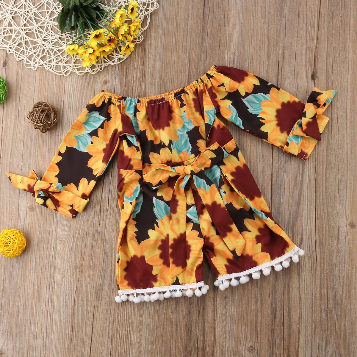 d6fee6609456 2018 New Kids Baby Girl Clothes Sunflower Romper Off Shoulder Jumpsuit  Sunsuit Outfits Summer Set-in Rompers from Mother   Kids on Aliexpress.com