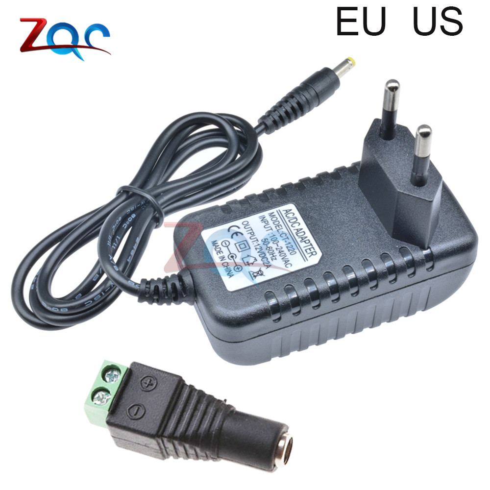 24W EU US Plug Driver <font><b>Adapter</b></font> AC 110V 220V to <font><b>DC</b></font> 12V 2A <font><b>5V</b></font> 1A 5.5*2.1mm Power Supply Female Connector For LED Strip Converter image