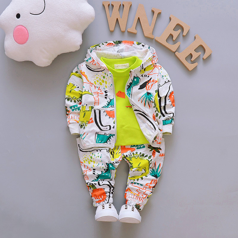 Image 2 - Children Boys Clothes Sets for Girl Baby Suit High Quality Cartoon Spring Autumn Coat+ T shirt +Pants Set Kids Clothing Set 1 4Yboys clothes setset for girlskids clothing set -