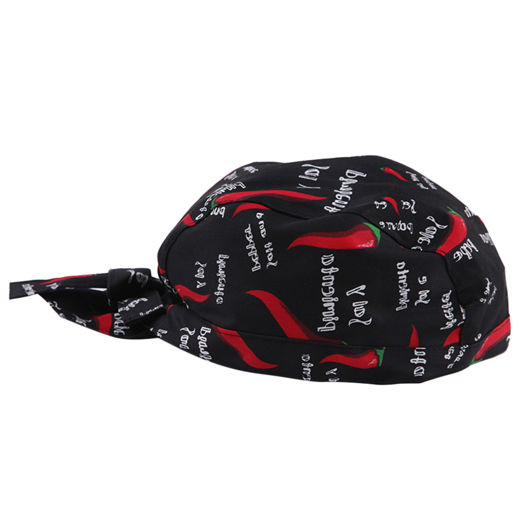 Adjustable Unisex Chef Cap Tie Back Hat Pirate Headwrap Bandana cuisine Kitchen Catering Waiter Baker Red Pepper Print