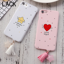 LACK Fashion Love Smile Stars Tassel Pendant Phone Cases For iphone6 Fundas For iPhone 6 6S Plus Lovely Cartoon Back Cover Hot