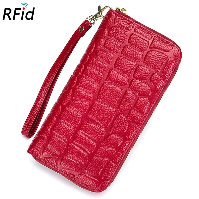 FSINNLV RFID Genuine Leather Wallet for Women Stone Long Wallet Clutch Zipper Women Wallet Card Holder Female Coin Purse DC342