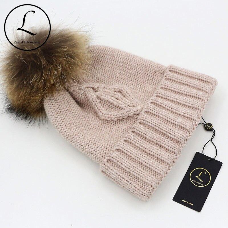 GZHILOVINGL Thick Beanies Cap For Women Striped Hats Genuine Fur Winter Hat Elasticity Unisex Gorros 16523A1 3pcs unisex hats cap beanies for men