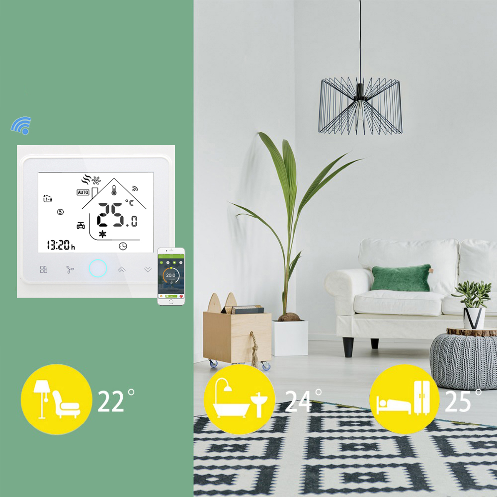 Programmable Smart Wifi Thermostat for 4 Pipe Fan Coil Air Conditioner Temperature Controller Works with Alexa Google Home