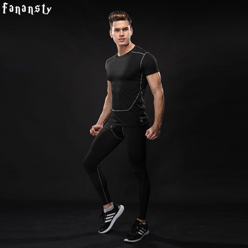 Badminton Schlägersportarten Ordentlich Top Qualität Kompression Trainingsanzug Männer Training Laufen Fitness Männer Engen Kurzen Hülse Hemd Hosen Leggings Gym Sport Anzug
