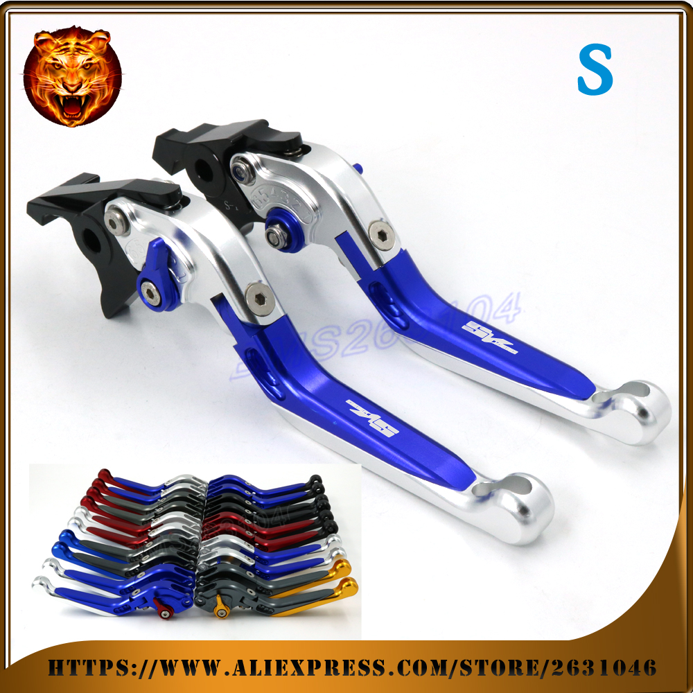 Adjustable Folding Extendable Brake Clutch Lever For SUZUKI SV100 SV1000S 03 04 05 06 07  WITH LOGO Free shipping Motorcycle cnc brake clutch levers for suzuki sv650s sv1000s 03 13 sv 650s sv 1000s sv650 s 1000 03 04 05 06 07 extendable foldable lever
