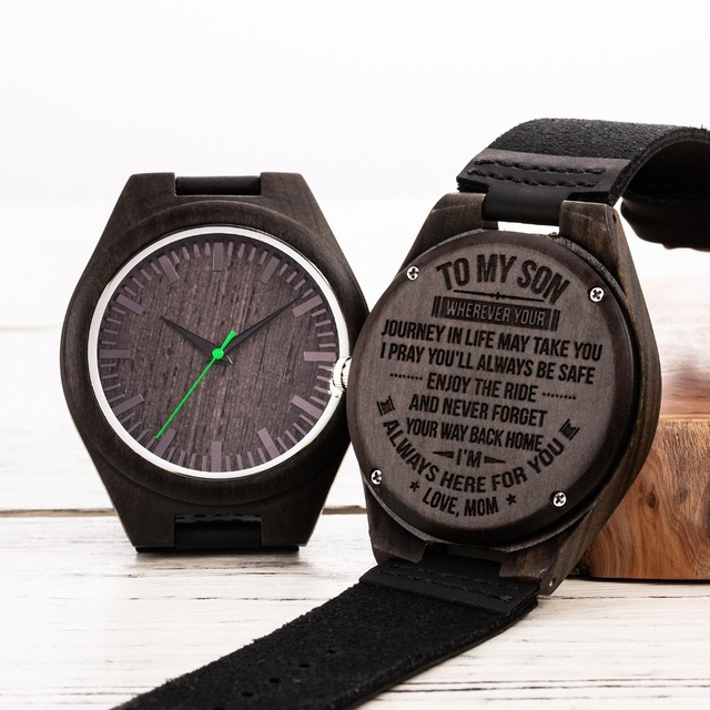 Engraved Wooden Men Wood Family for Son DAD MOM Engraving Wood Watches Gift Watch For Christams Valentine's Day Drop Shipping 1