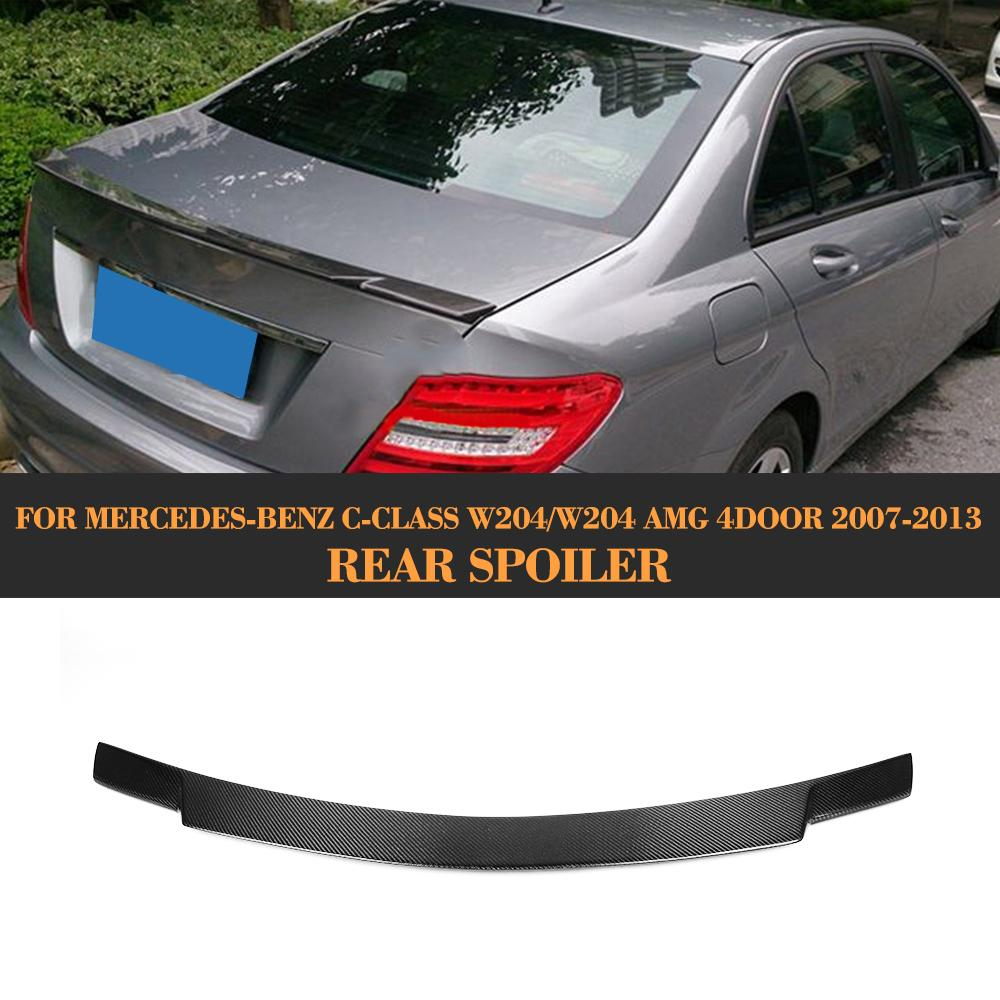 Carbon Fiber Auto <font><b>Rear</b></font> <font><b>Spoiler</b></font> Lip Wing For <font><b>Mercedes</b></font> <font><b>Benz</b></font> W204 C200 C250 <font><b>C300</b></font> C350 C63 AMG Sedan 4-Door 2008-2013 image