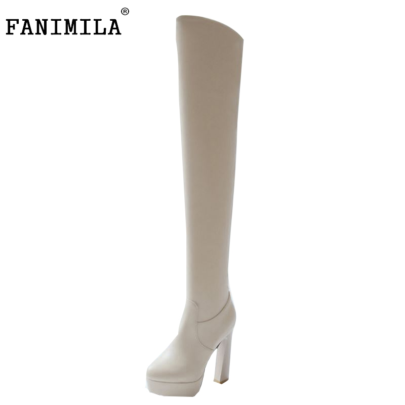 FANIMILA Women High Heel Over Knee Boots Lady Botas Equestrian Militares Fashion Long Boot Warm Winter Footwear Shoes Size 32-43 free shipping over knee wedge boots women snow fashion winter warm footwear shoes boot p15323 eur size 34 39