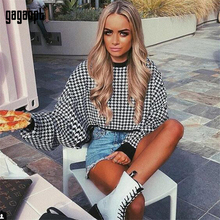 Gagaopt Autumn Winter Plaid Sweatshirt Women Fashion Crop To