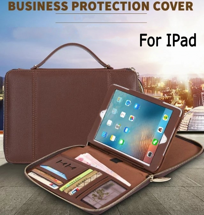 Super Business Fashion Solid Wallet Card multi-functional PU leather Bag stand holder cover case for ipad 2 ipad 3 ipad 4 fashion pu cover business   credit card