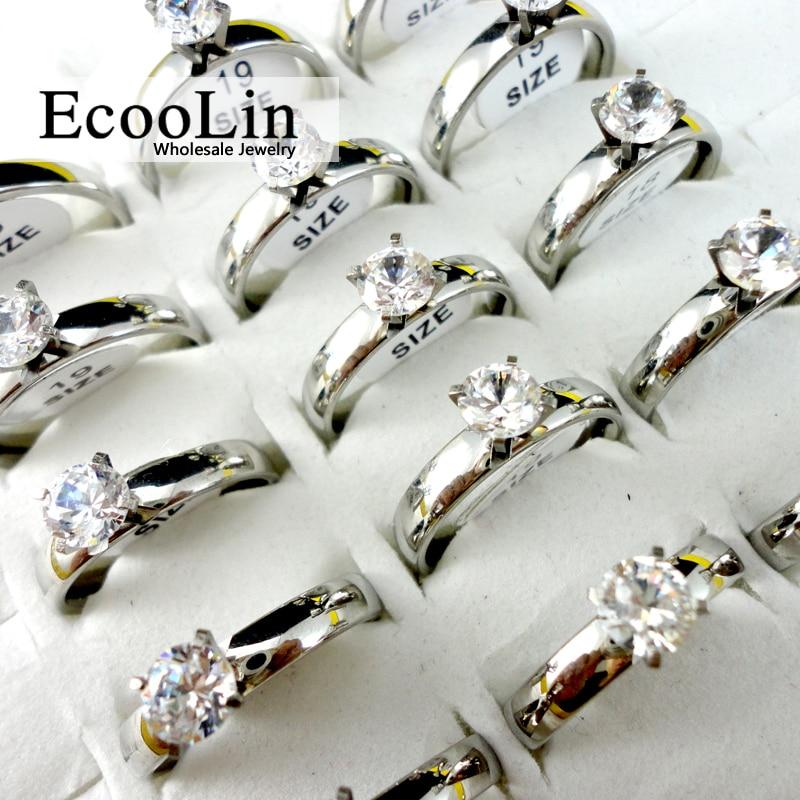 10 Pcs Aço Inoxidável 316L Mulheres Anéis de Noivado Aniversário Anel Prong definir Cubic Zirconia Jóias Feminino Clássico LR269