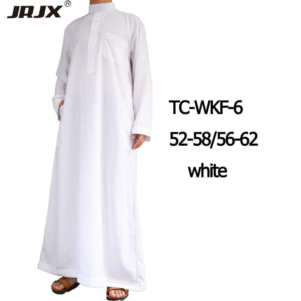 2019 Classic Traditional White Cotton Galabiyya Trendy Muslim Men Hajj And  Prayer Wear Clothes