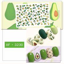 Calcomanía para uñas, 1 hoja de calcomanía para manicura con diseño de Cactus, aguacate, flores, frutas, papel, DIY