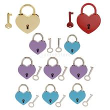 Vintage Heart Shape Padlock w/ Key Tiny Suitcase Crafts Lock Set For Jewelry Boxes(China)