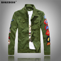 ROKEDISS 2017 New Autumn Winter Denim Jacket Men Fashion Streetwear Jeans Jacket 100 Cotton Patch Embroidery