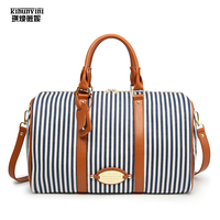 Travel Bag Canvas Big Duffles Vertical Strip Blue white Women and Man's Large Capacity Handbag Unisex Tourist Autumn Hand Bag