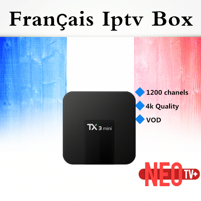 French Arabic IPTV TX3Mini 16GB Amlogic S905W Android 7.1 TV Box Quad Core 4K HDMI H.265 WiFi Kody Smart TV Box+1 Year IPTV+VOD hot x96 tv box 2gb 16gb s905x quad core 2 4ghz wifi hdmi smart set top box with iudtv iptv abonnement french arabic iptv top box