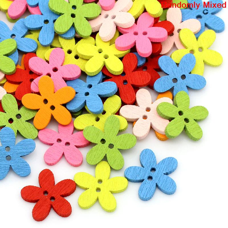 DoreenBeads Wood Sewing Buttons Scrapbooking Flower 2 Holes At Random 14x15mm, 20PCs 2015 new