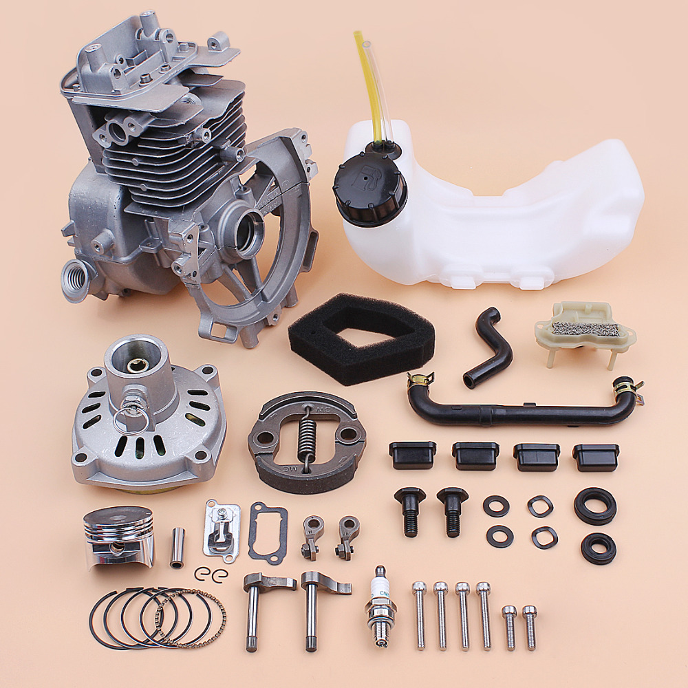 39MM Crankcase Cylinder Piston Fuel Tank Clutch Drum Engine Kit Fit HONDA GX35 GX35NT HHT35S 4-Cycle Small Motor Brush Cutters gx35 brush cutter piston set diameter 40mm with piston ring kit for trimmers engine motor replace parts