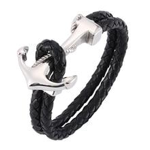 d6a322bc524e Nueva joyería de moda pulseras de ancla de los hombres pulsera de cuero  trenzado de cuerda
