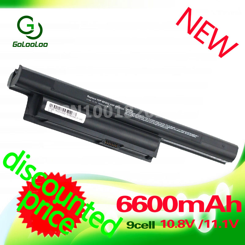 Golooloo 6600mAh Laptop Battery 9 Cell For Sony VGP-BPS22 VGP-BPS22A For VAIO VPC-E1Z1E VPC-EA18EC VPC-EA1 VPC-EC4S0E VPC-EC4M1E компьютерные аксессуары for sony vaio sony vpc ea sony p n 148792241 mp 90l16fo 886 fr vpc ea series