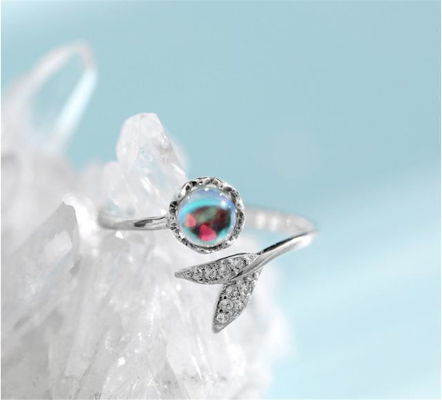925 Sterling Silver Fashion Wedding Jewelry Adjustable Open Crystal Mermaid Ring for Women Ladies Finger Ring jz459 2