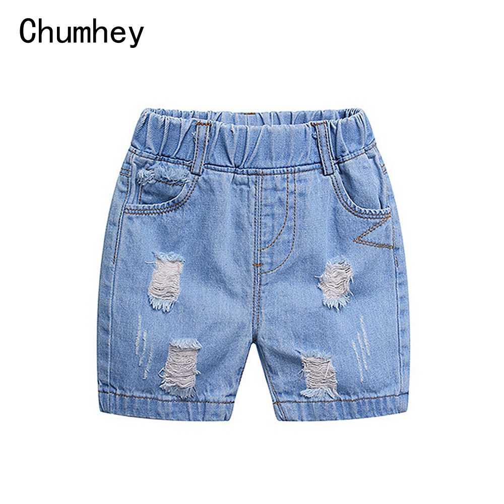 1-4T yaz bebek erkek kız şort yumuşak sıkı Denim kırpılmış pantolon erkek denim kısa pantolon çocuk giyim çocuk giysileri