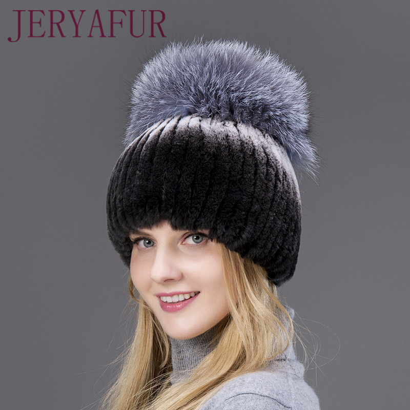 Hot Sale Fashion Outdoor Winter Warm Women Caps Rabbit Fur Vertical Weaving Hat With Fox Fur On The Top And Rabbit Fur The Down rabbit hair lady autumn winter new weaving small pineapple fur hat in winter to keep warm very nice and warm comfortable