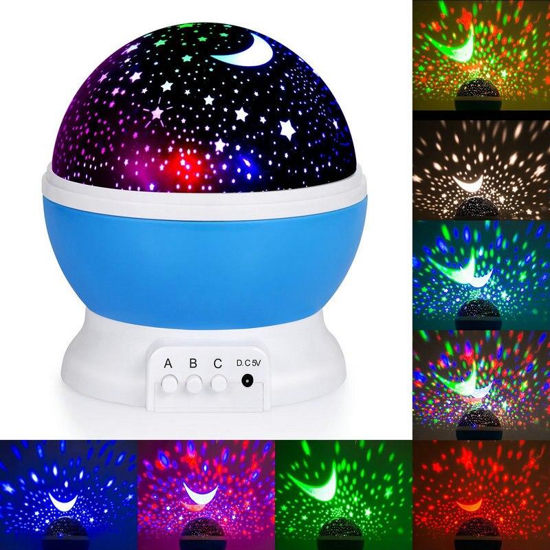 Star Projektor Neuheit Beleuchtung Mondhimmel Rotation Kinder Baby Kindergarten Nachtlicht Batterie FÜHRTE Drehenden Usb-kabel Betrieben Lampe