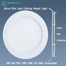DHL Free Shipping for 10pcs/Lot Ultra thin 3w/6w/9w/12w/15w/18w/24w Led Ceiling Recessed Downlight Round Panel light white