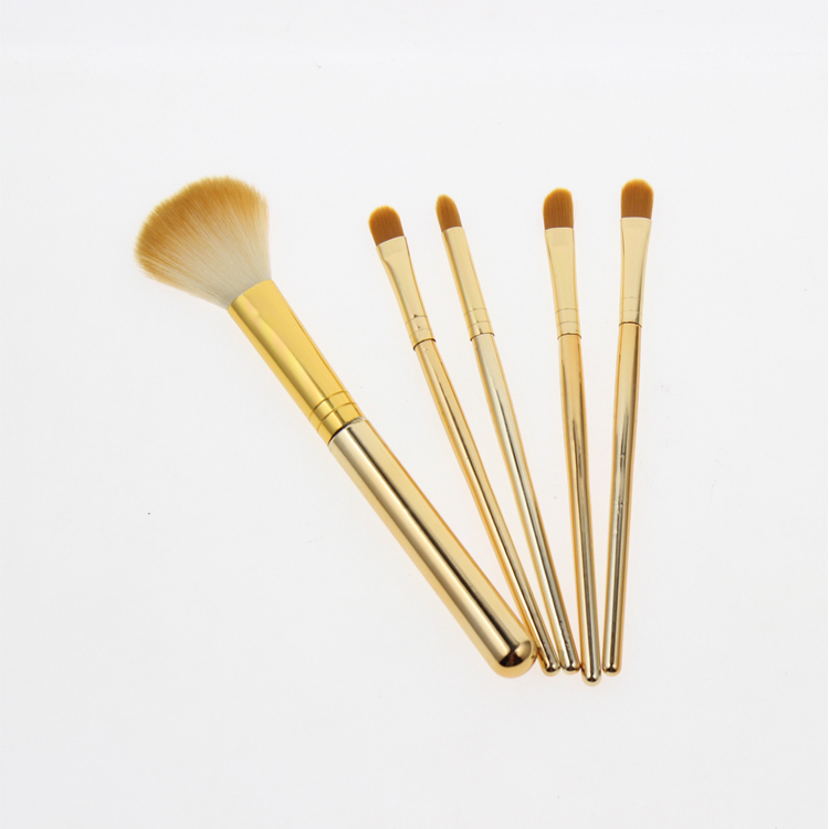 5Pcs Cheap Gold Metal Handle Women Girls Gift Travel Makeup Brushes Set Foundation Powder Make up Brushes Tools Products