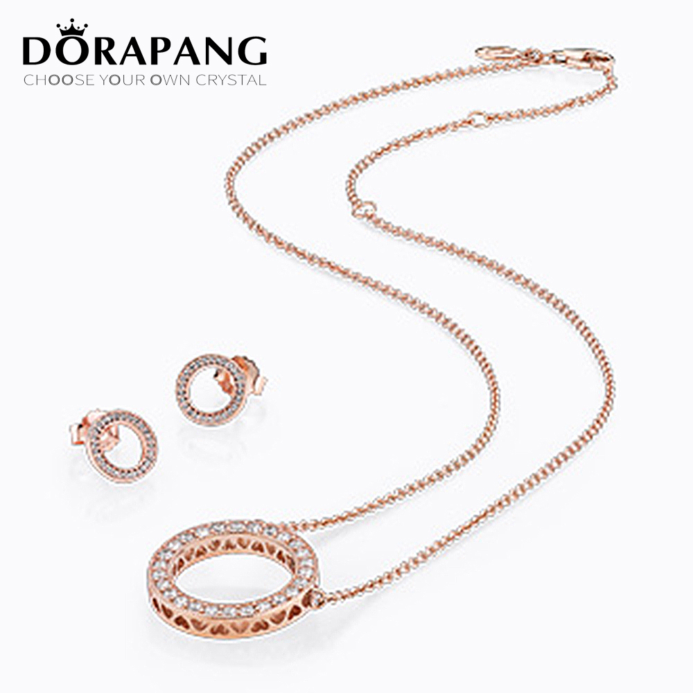 DORAPANG 100% 925 Sterling Silver Earrings Rose Gold Clear CZ suit Ear Studs charm Beads Fit Bracelet DIY Wholesale factory dorapang 100% 925 sterling silver snake chain necklace fit charm beads for women fashion jewelry diy bracelet factory wholesale
