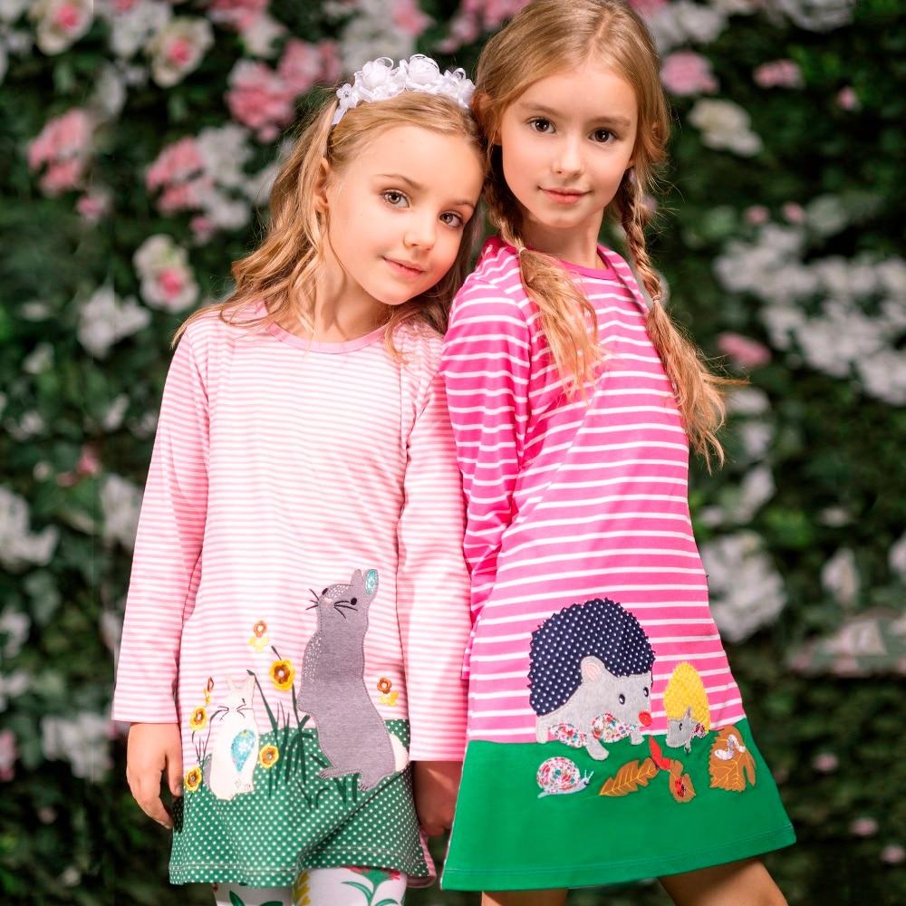 Kids Dresses for Girls Clothes Autumn Brand Baby Girls Cotton Dress Animal Applique Tunic Children Jersey Dress Princess Vestido girls set with applique animal dress
