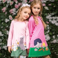 Kids Dresses For Girls Clothes Autumn Brand Baby Girls Cotton Dress Animal Applique Tunic Children Jersey