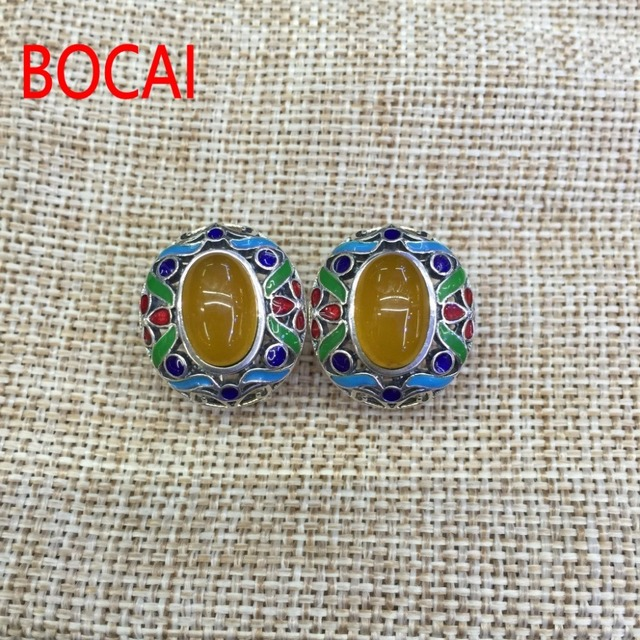 925 Sterling Silber draht einsetzen Emaille Inlay Ohrringe Huang ...