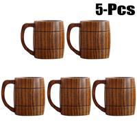 5PCS 350ml Classical Wooden Beer Tea Coffee Cup Water Cup Heatproof Home Office Party Drinkware Cups Juice Wine Mug