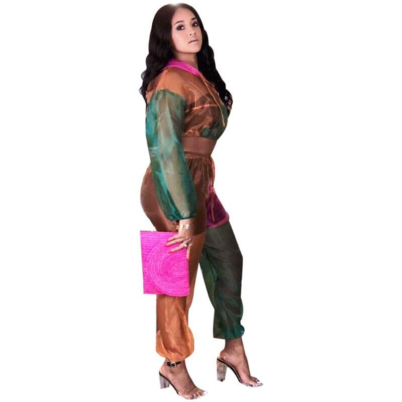24358e2fd5 ... Frontal Chándal De Patchwork Crop Mujeres Conjunto Chaqueta Suits Suits  Orange Capucha yellow Con Dos Green