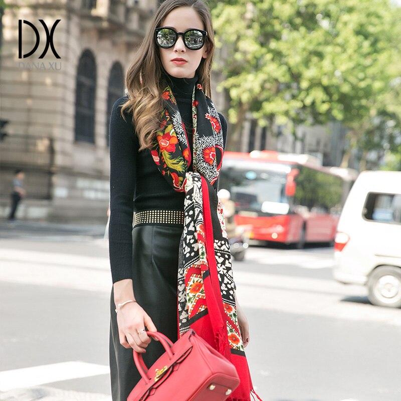 Image 4 - DANA XU 2019 New Scarf Women Luxury Brand Foulard Femme Pure Wool Bufanda Mujer Casaco Feminino Pashmina Fashion Red Pashmina-in Women's Scarves from Apparel Accessories